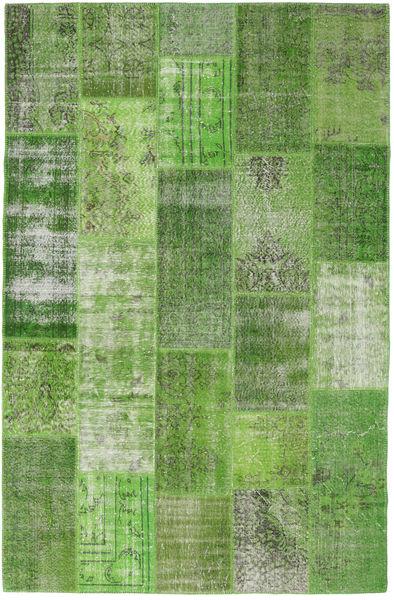 Patchwork Matto 202X311 Moderni Käsinsolmittu Tummanvihreä/Vaaleanvihreä/Vihreä (Villa, Turkki)