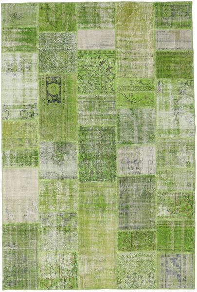 Patchwork Rug 201X302 Authentic  Modern Handknotted Light Green/Dark Green (Wool, Turkey)