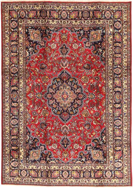 Mashad Rug 195X284 Authentic  Oriental Handknotted Light Brown/Dark Red (Wool, Persia/Iran)