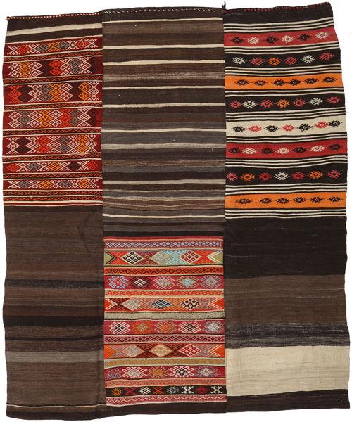 Kelim Patchwork Matto 219X262 Moderni Käsinkudottu Tummanpunainen/Tummanruskea/Vaaleanruskea (Villa, Turkki)