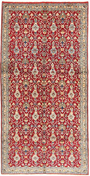 Najafabad Rug 145X297 Authentic  Oriental Handknotted Dark Red/Light Brown (Wool, Persia/Iran)