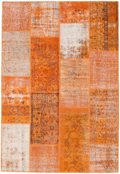 Patchwork Matto 162X236 Moderni Käsinsolmittu Oranssi/Vaaleanruskea (Villa, Turkki)