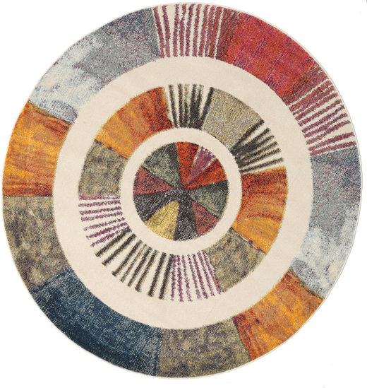 Going Round Rug Ø 200 Modern Round Light Brown/Dark Blue ( Turkey)