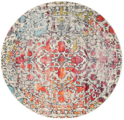 Kaleidoscope - Multi Rug Ø 200 Modern Round Light Grey/Light Brown ( Turkey)