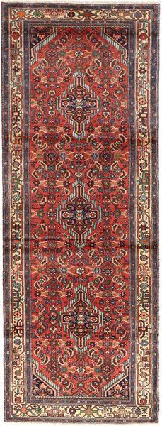 Hamadan Matto 108X300 Itämainen Käsinsolmittu Käytävämatto Tummanpunainen/Ruskea (Villa, Persia/Iran)