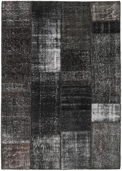 パッチワーク 絨毯 161X230 モダン 手織り 濃いグレー/黒 (ウール, トルコ)