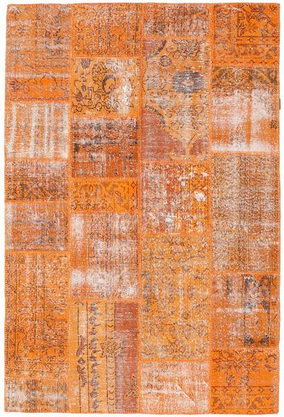Patchwork Tapis 160X239 Moderne Fait Main Orange/Marron Clair (Laine, Turquie)