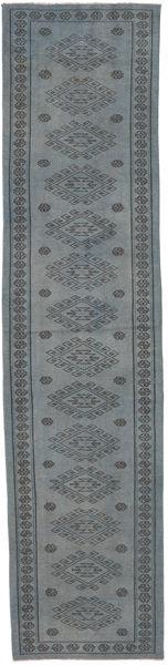 Colored Vintage Rug 82X343 Authentic  Modern Handknotted Hallway Runner  Blue/Dark Grey (Wool, Turkey)
