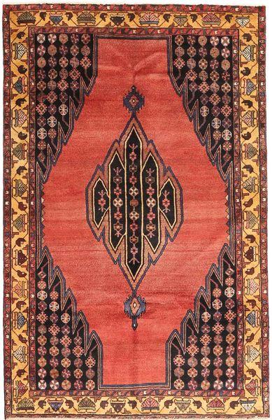 Hamadan Matto 135X213 Itämainen Käsinsolmittu Tummanruskea/Tummanpunainen (Villa, Persia/Iran)