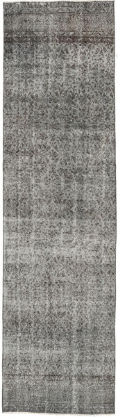 Colored Vintage Rug 90X333 Authentic  Modern Handknotted Hallway Runner  Dark Grey/Light Grey (Wool, Turkey)