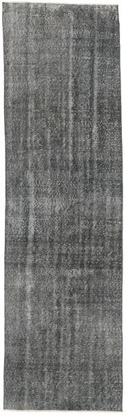 Colored Vintage Rug 84X300 Authentic  Modern Handknotted Hallway Runner  Dark Grey/Dark Green (Wool, Turkey)