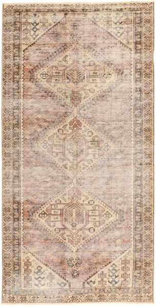 Colored Vintage Rug 140X285 Authentic  Modern Handknotted Hallway Runner  Light Brown/Light Pink (Wool, Persia/Iran)