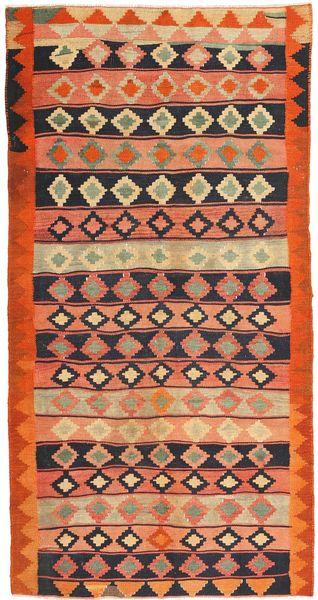 Kelim Fars Matta 147X308 Äkta Orientalisk Handvävd Orange/Ljusbrun (Ull, Persien/Iran)
