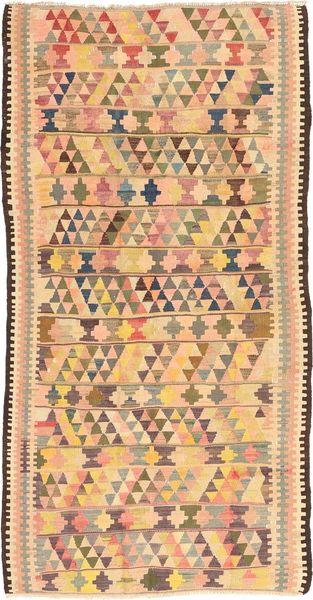Kelim Fars Teppe 144X295 Ekte Orientalsk Håndvevd Teppeløpere Mørk Beige/Lyserosa (Ull, Persia/Iran)
