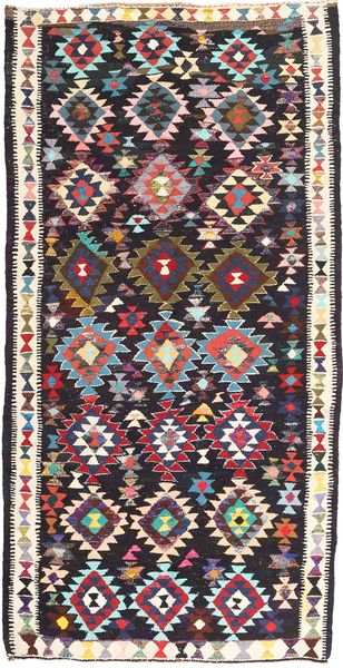 Kilim Fars Rug 160X315 Authentic  Oriental Handwoven Dark Blue/Beige (Wool, Persia/Iran)