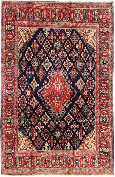 Hamadan Shahrbaf Matta 210X325 Äkta Orientalisk Handknuten Mörkröd/Mörkblå (Ull, Persien/Iran)
