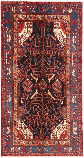 Nahavand Matta 151X292 Äkta Orientalisk Handknuten Hallmatta Mörkröd/Mörkbrun (Ull, Persien/Iran)