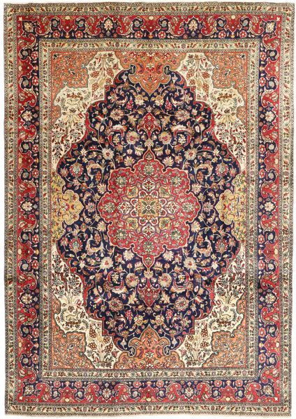 Tabriz Rug 243X344 Authentic  Oriental Handknotted Light Brown/Dark Purple (Wool, Persia/Iran)