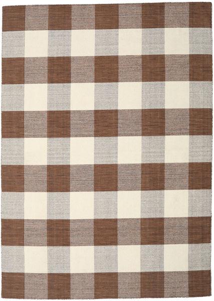 Check Kilim - Marron/Blanc Tapis 240X340 Moderne Tissé À La Main Marron/Gris Clair/Beige/Marron Clair (Laine, Inde)