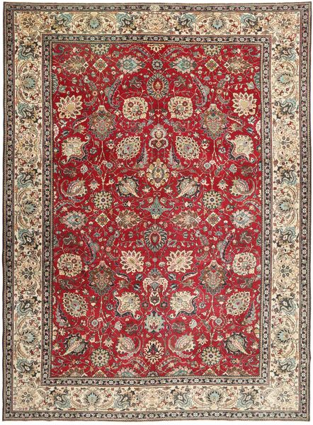 Tabriz Patina Rug 284X390 Authentic  Oriental Handknotted Light Brown/Dark Red Large (Wool, Persia/Iran)