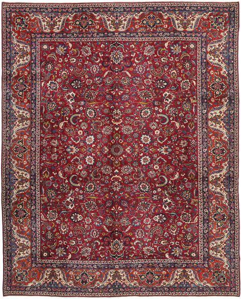 Mashad Patina Matta 305X381 Äkta Orientalisk Handknuten Mörkröd/Ljusbrun Stor (Ull, Persien/Iran)