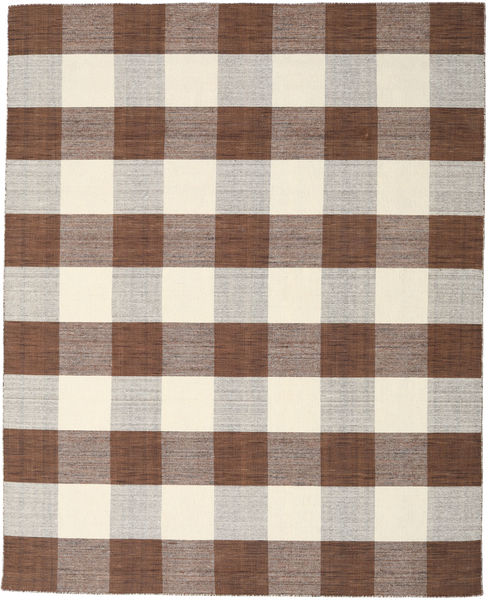 Check Kilim - Brown/White Rug 240X300 Authentic  Modern Handwoven Light Grey/Beige (Wool, India)