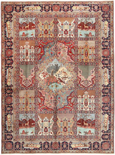 Tabriz Rug 297X404 Authentic  Oriental Handknotted Light Brown/Brown Large (Wool, Persia/Iran)
