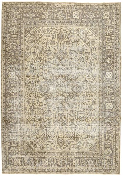 Colored Vintage Rug 242X340 Authentic  Modern Handknotted Light Brown/Beige (Wool, Persia/Iran)