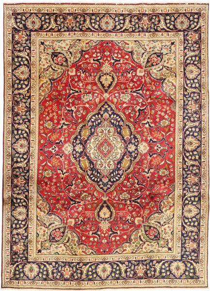 Tabriz Rug 246X338 Authentic  Oriental Handknotted Dark Brown/Rust Red (Wool, Persia/Iran)