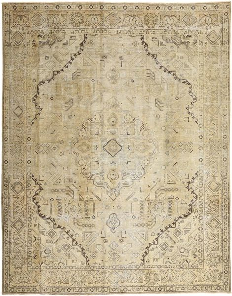 Colored Vintage Rug 284X358 Authentic  Modern Handknotted Dark Beige/Olive Green Large (Wool, Persia/Iran)