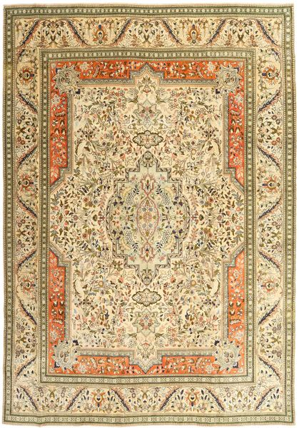 Tabriz Patina Rug 270X379 Authentic  Oriental Handknotted Light Brown/Brown/Yellow Large (Wool, Persia/Iran)
