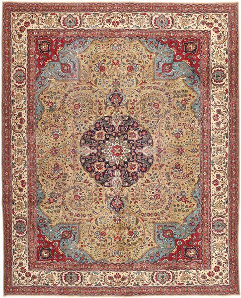 Tabriz Patina Matto 306X380 Itämainen Käsinsolmittu Vaaleanruskea/Ruskea Isot (Villa, Persia/Iran)