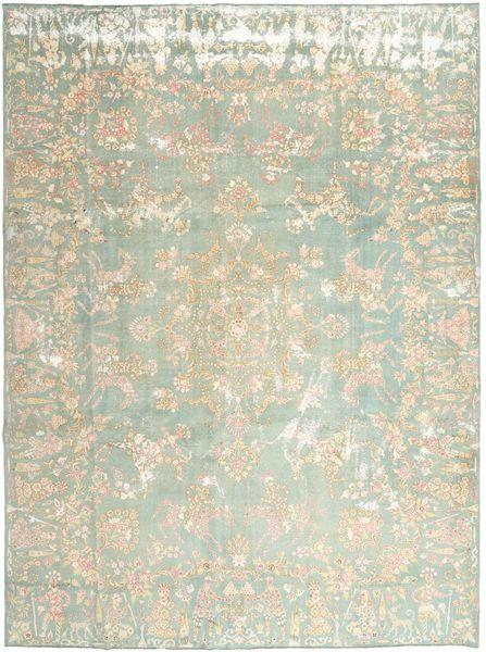 Kerman Patina Vloerkleed 270X355 Echt Oosters Handgeknoopt Lichtgrijs/Beige Groot (Wol, Perzië/Iran)