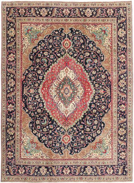 Tabriz Patina Matto 255X341 Itämainen Käsinsolmittu Tummanruskea/Tummanpunainen Isot (Villa, Persia/Iran)