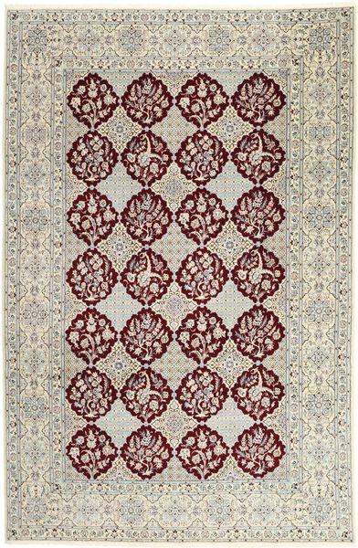Nain 6La Matto 201X304 Itämainen Käsinsolmittu Vaaleanharmaa/Tummanbeige (Villa/Silkki, Persia/Iran)