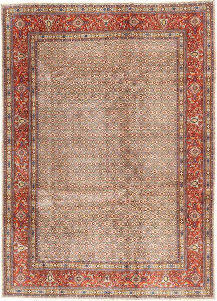 Moud Tapijt 236X332 Echt Oosters Handgeknoopt Lichtbruin/Bruin (Wol/Zijde, Perzië/Iran)