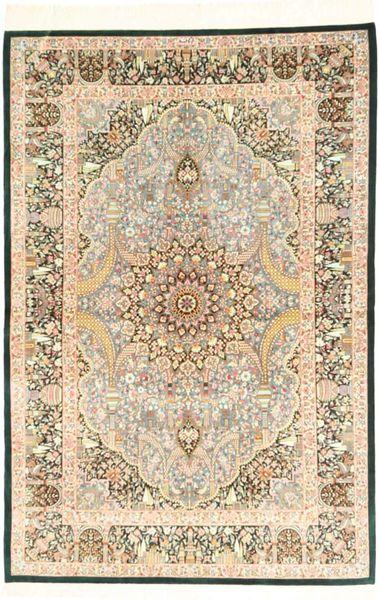 Ghom Zijde Tapijt 98X153 Echt Oosters Handgeknoopt Lichtbruin/Beige (Zijde, Perzië/Iran)