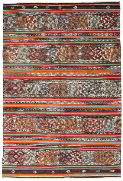 Kilim Turkish Rug 188X280 Authentic  Oriental Handwoven Dark Red/Dark Brown (Wool, Turkey)