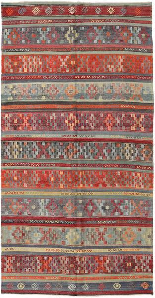 Kilim Tureckie Dywan 162X313 Orientalny Tkany Ręcznie Ciemnoczerwony/Ciemnoszary (Wełna, Turcja)