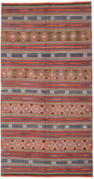 Kilim Turkish Rug 188X365 Authentic  Oriental Handwoven Dark Grey/Rust Red (Wool, Turkey)