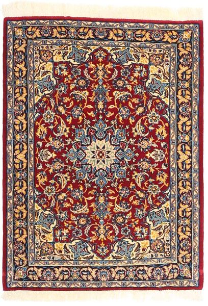 Ispahan Chaîne De Soie Tapis 72X98 D'orient Fait Main Beige/Rouge Foncé (Laine/Soie, Perse/Iran)