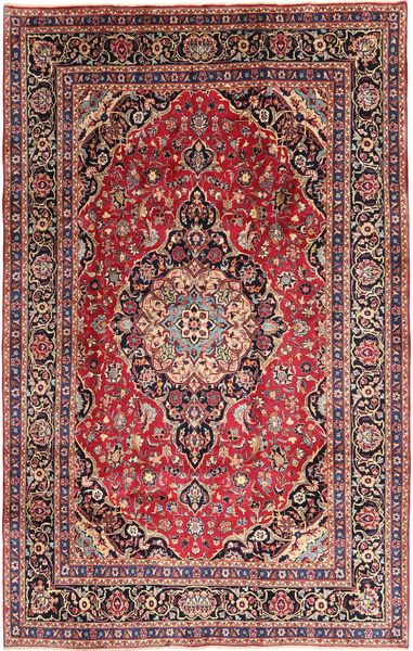 Mashad Rug 202X310 Authentic  Oriental Handknotted Dark Brown/Light Pink (Wool, Persia/Iran)