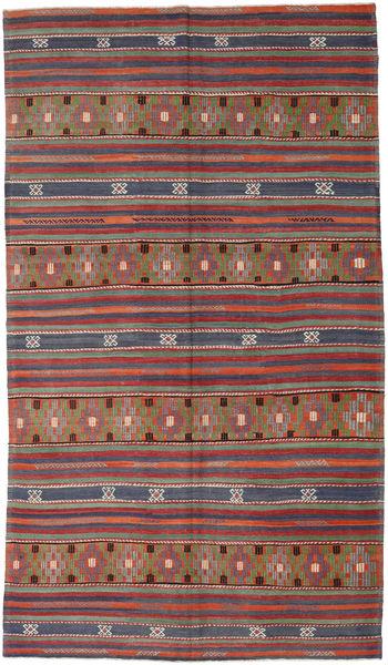 Kelim Turkki Matto 193X333 Itämainen Käsinkudottu Tummanpunainen/Tummanharmaa (Villa, Turkki)