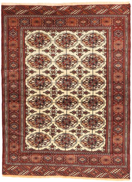 Turkaman Matta 105X144 Äkta Orientalisk Handknuten Mörkröd/Brun (Ull, Persien/Iran)