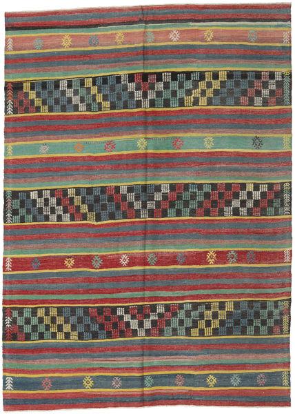 Kelim Turkisk Matta 180X248 Äkta Orientalisk Handvävd Mörkgrå/Brun (Ull, Turkiet)