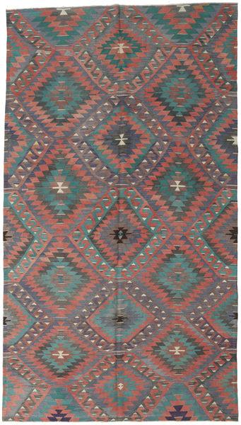 Kilim Turkish Rug 182X323 Authentic  Oriental Handwoven Dark Grey/Rust Red (Wool, Turkey)