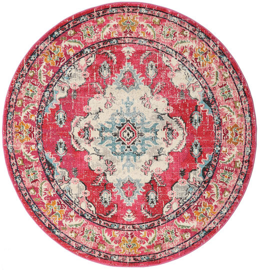 Leia - Cerise Rug Ø 200 Modern Round Rust Red/Light Pink ( Turkey)