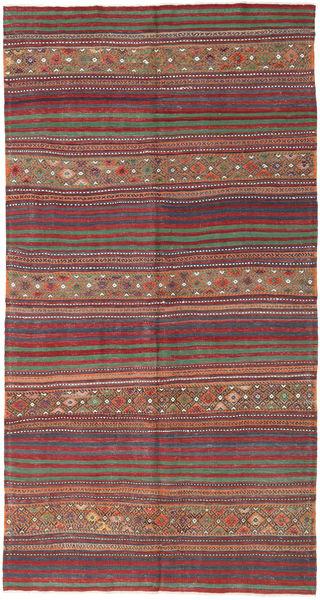 Kelim Turkisk Matta 155X294 Äkta Orientalisk Handvävd Mörkröd/Mörkgrå (Ull, Turkiet)