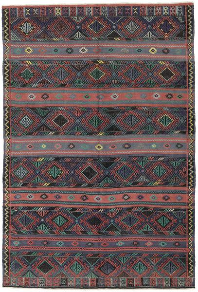 Kilim Turkish Rug 168X250 Authentic  Oriental Handwoven Dark Grey/Dark Green (Wool, Turkey)
