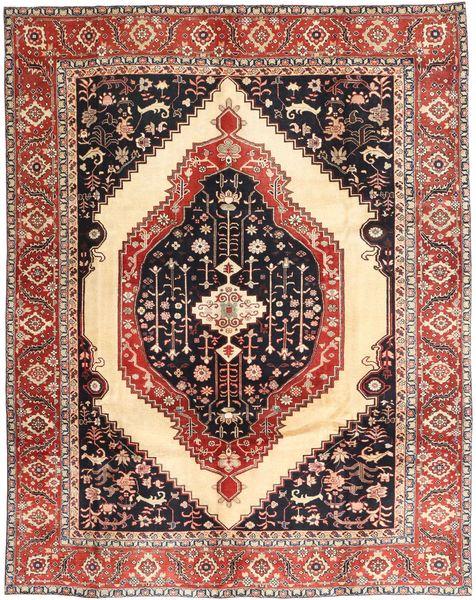 Heriz Tapijt 287X360 Echt Oosters Handgeknoopt Donkerrood/Bruin Groot (Wol, Perzië/Iran)